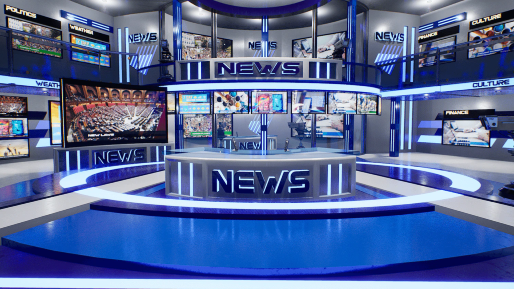 An image showing News TV Studio asset pack, created with Unreal Engine 4.